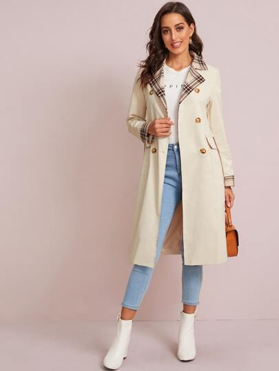 Belted Lapel Neck Contrast Panel Pea Coat