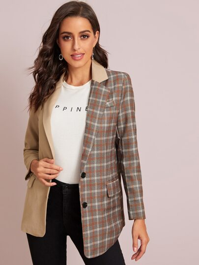 Cut And Sew Plaid Asymmetrical Hem Blazer