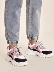 Lace-up Front Leopard Panel Chunky Sneakers