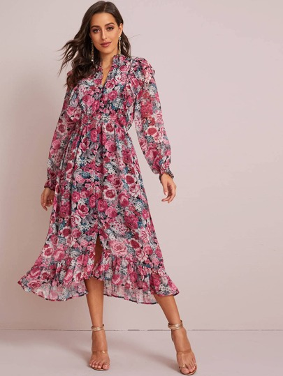 Floral Print Shirred Ruffle Slit Hem Dress