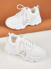 Letter Detail Lace-up Front Chunky Sneakers