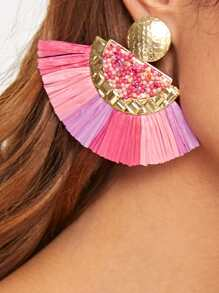 Round Beaded Fan Tassel Drop Earrings 1pair