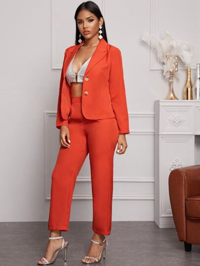 Neon Orange Double Button Blazer & Pants