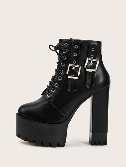 Double Buckle Decor Platform Chunky Boots