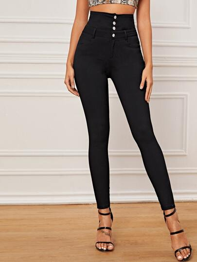 Button Front High Waist Jeggings