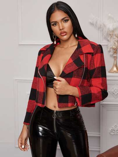 Plaid Zip Up Crop Jacket