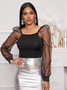 Sheer Dobby Mesh Puff Sleeve Top