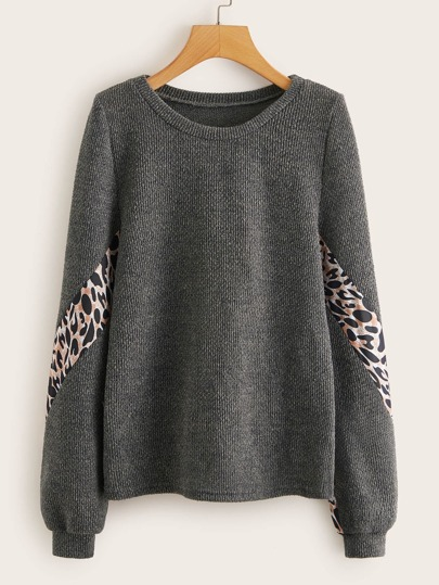 Leopard Panel Ribbed Knit Sweater