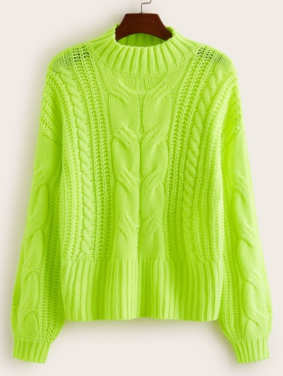 Neon Lime Cable Knit Sweater