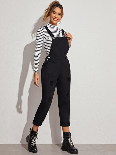 Ripped Black Wash Denim Overall