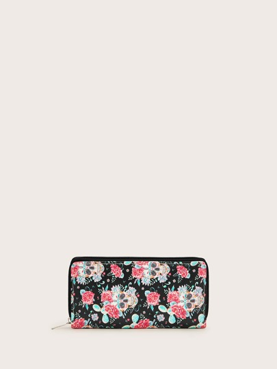 Floral Graphic Zip Around Purse