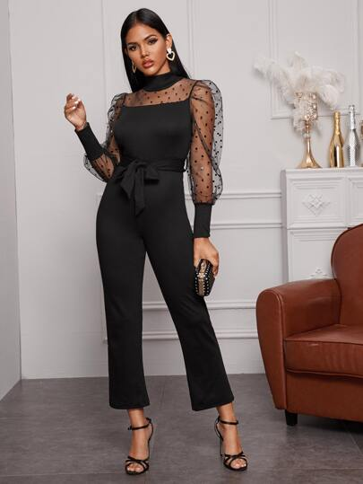 Sheer Dobby Mesh Panel Belted Jumpsuit