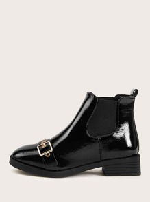 Buckle Decor Patent Chelsea Boots