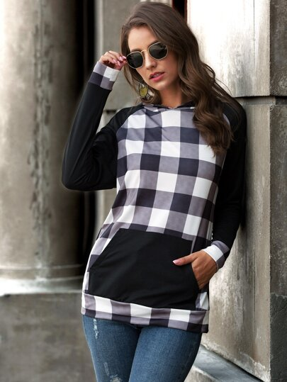 Contrast Gingham Panel Kangaroo Pocket Hoodie