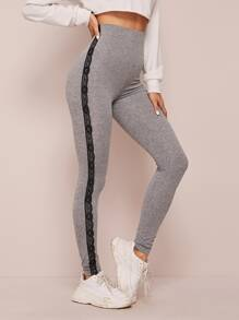 Contrast Lace Panel Skinny Leggings
