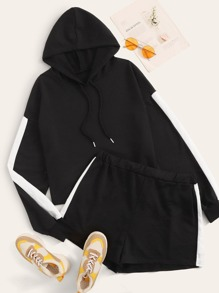 Plus Contrast Panel Drawstring Hoodie With Track Shorts