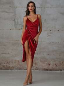 Double Crazy Velvet Wrap Cami Dress