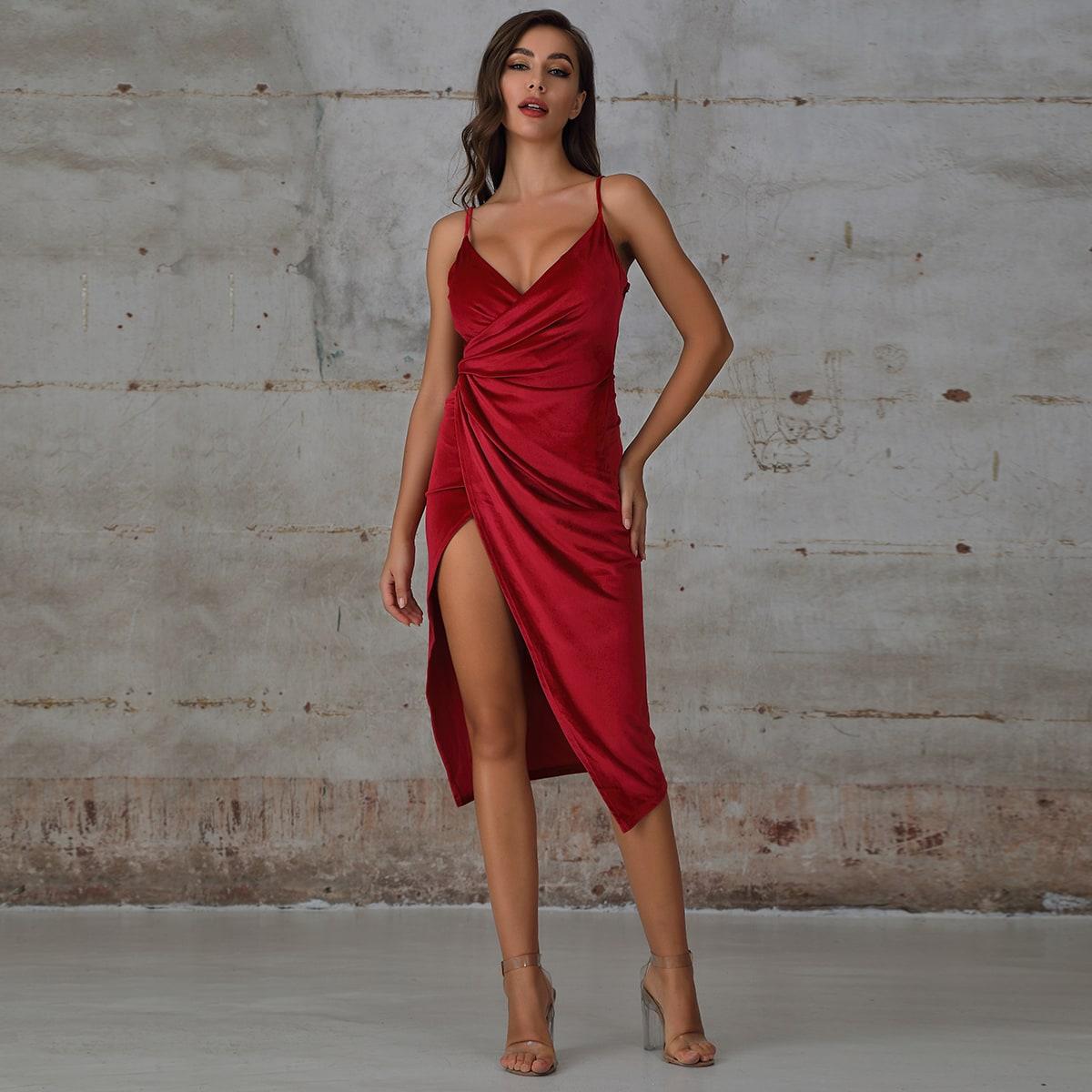 бархатое платье на бретелях SheIn swdress42191114817
