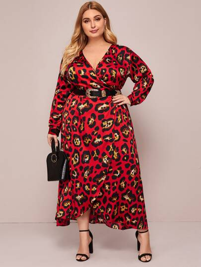 Plus Leopard Print Wrap A-line Dress