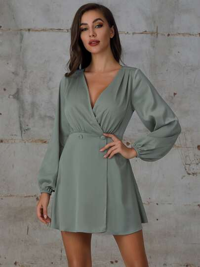 Double Crazy Double Button Wrap A-line Dress