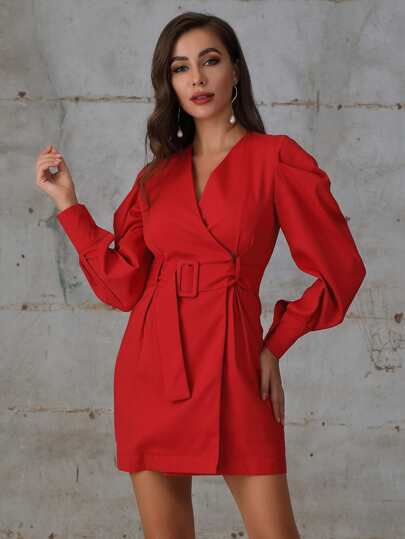 Double Crazy Bishop Sleeve Wrap Belted Dress