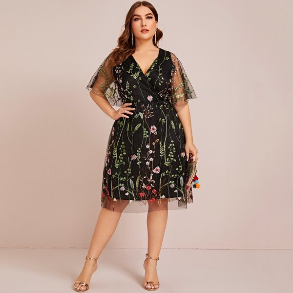 Plus Floral Embroidered Mesh A-line Dress, Black