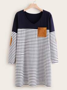 Plus Pocket Patched Stripe Tee Dress