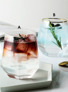 1pc Geometric Design Glass Water Cup