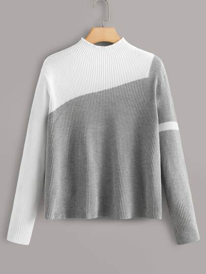 Plus Two Tone Mock Neck Sweater