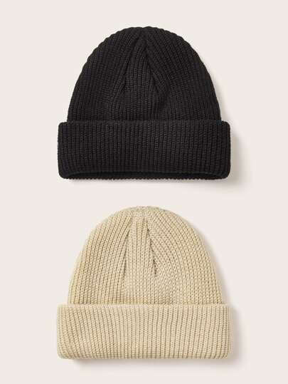 2pcs Solid Knitted Beanie