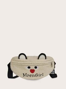 kids letter embroidered fuzzy fanny pack
