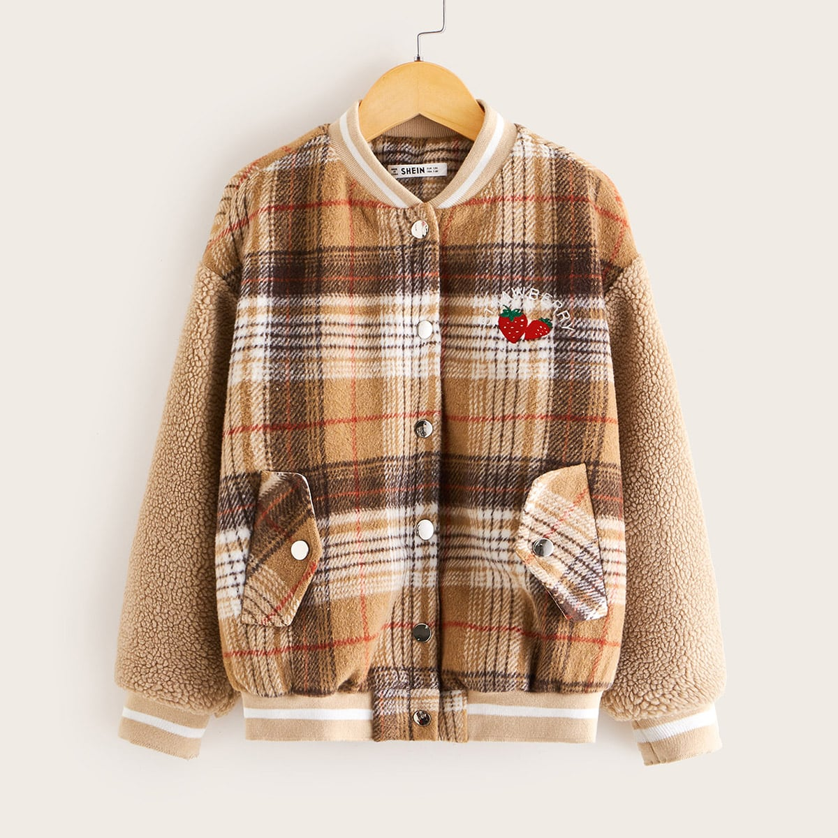 Girls Embroidered Detail Teddy Sleeve Plaid Bomber Jacket