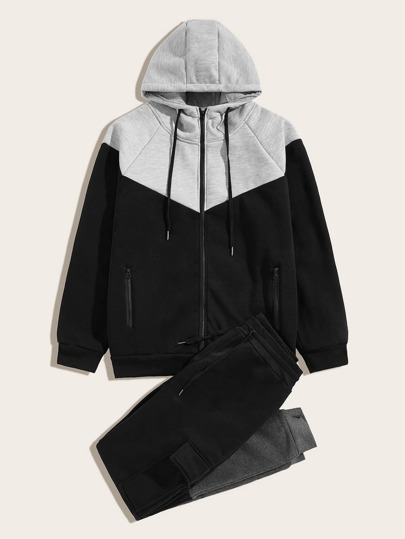 Men Two Tone Drawstring Hoodie & Sweatpants
