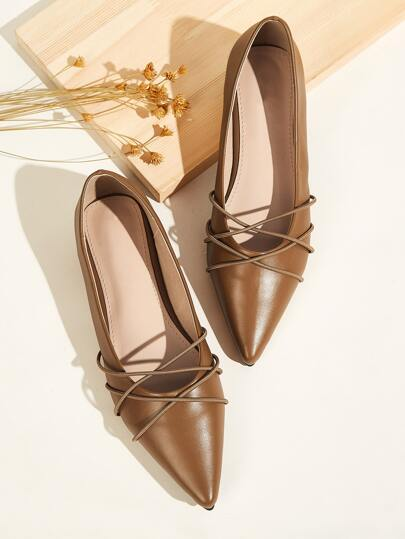 Point Toe Criss Cross Flats