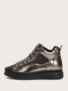 Rhinestone Decor Lace-up Front Metallic Sneakers