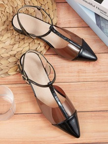 Point Toe T-strap Flats