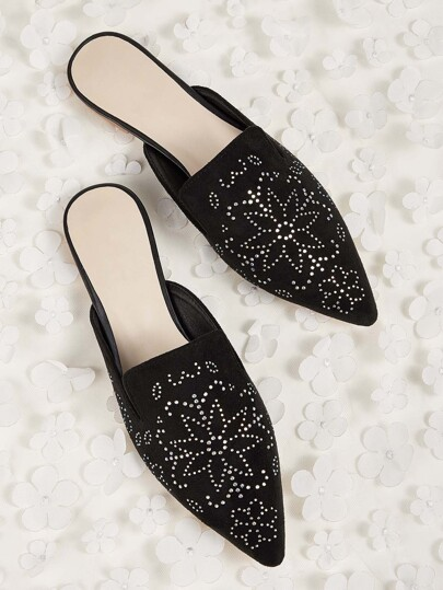 Rhinestone Decor Point Toe Flat Mules
