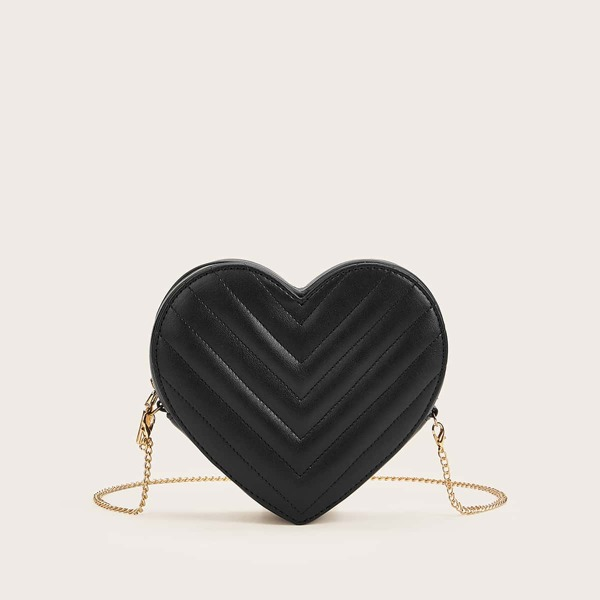 Heart Shaped Chevron Chain Bag, Black