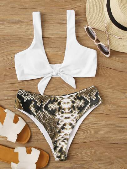 Knot Front Top With Snakeskin High Waist Bikini Set