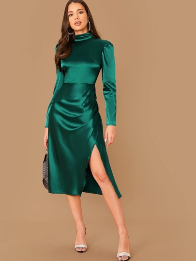 Zip Back Mock-neck Wrap Hem Satin Dress