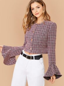 Button Front Flounce Sleeve Crop Tweed Jacket