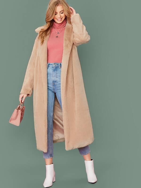 SheinOpen Placket Pocket Front Faux Fur Coat by Sheinside