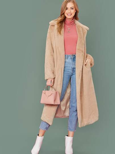 Open Placket Pocket Front Faux Fur Coat