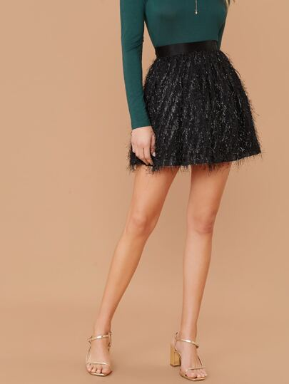 High Waist Fringe A-line Skirt