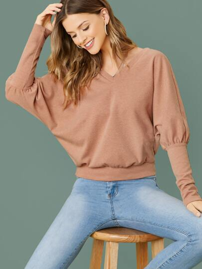 Double V-neck Gigot Sleeve Top