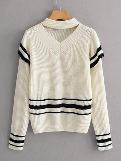 V-cut Choker Neck Striped Sweater