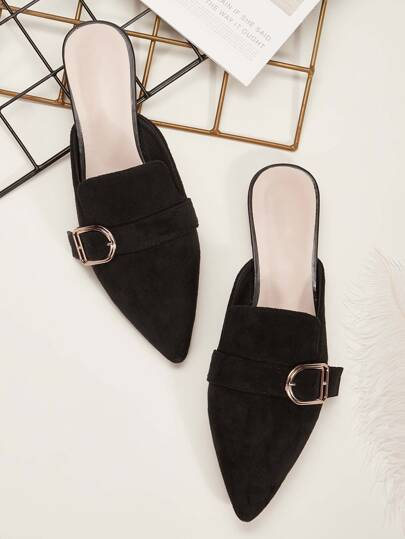 Buckle Decor Point Toe Flat Mules