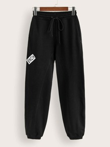 Letter Print Patched Drawstring Waist Sweatpants