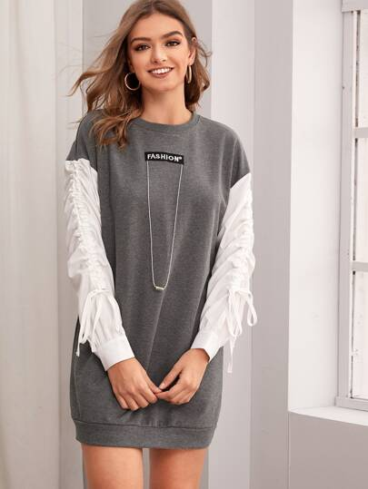 Letter Embroidered Contrast Sleeve Sweatshirt Dress