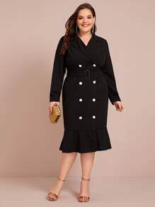 Plus Double Button Ruffle Hem Blazer Dress